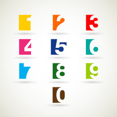 Numbers set with bright  color