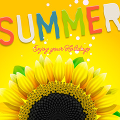 Summer background with sunflower, vector Eps10 illustration.