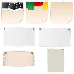 set of sheets of paper stationery with pins and clips