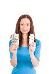 girl with bulb and money