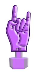 sign language, finger alphabet violet love sign , part of a seri