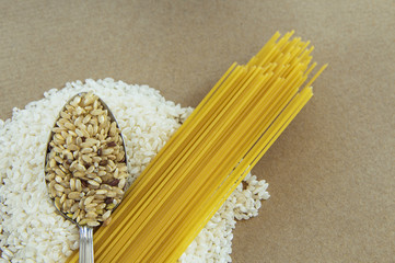 Brown and White Rice with Pasta