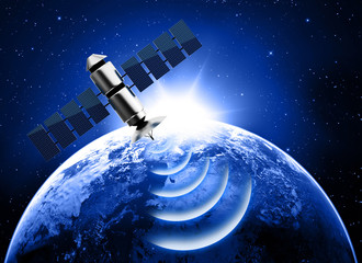 planet earth and satellite transmission data in space