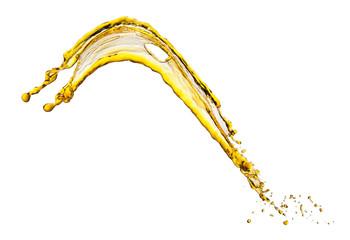 Flying splash yellow liquid on a white background