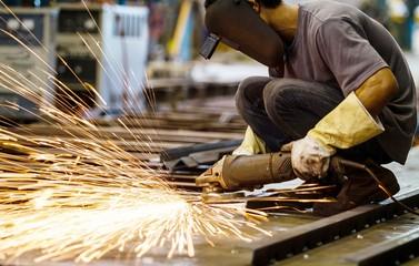 Metal grinding on steel plate