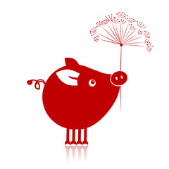 Cute piggy with flower for your design