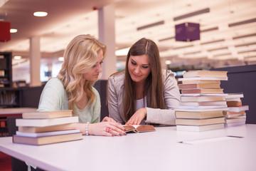 Zwei Damen lernen in Bibliothek