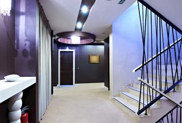 modern stairway and hotel hallway interior