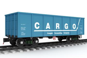 Blue rail wagon. Isolated