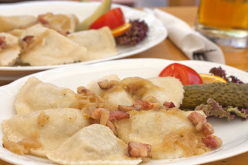 Dumplings with meat in restaurant traditional Polish food