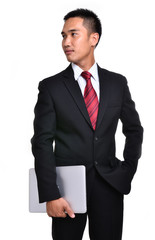 business man with laptop isolated