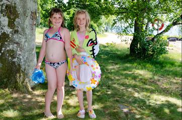 Child girls ready to water fun