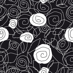Aluminium Prints Floral black and white pattern