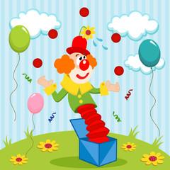 clown juggles balls - vector illustration