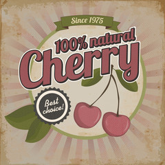 Vintage poster or brochure design with cherry