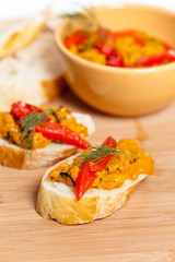 Roasted Yellow and Red Bell Pepper Spread with bread