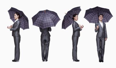 Businesswoman with umbrella, 360 degrees