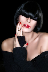 Beautiful Sexy Girl Portrait. Healthy Black Hair. Sensual red li