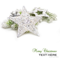 Silver Christmas stars on white background