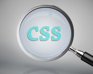 Magnifying glass showing css word
