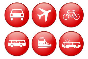 Verkehrsmittel Icon rot