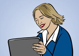 Karrierefrau Ira mit Tablet-PC vor blauem Himmel – Vektor