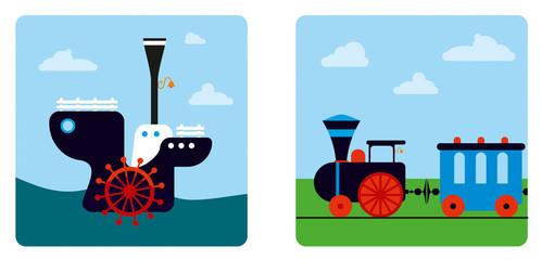 ship and  train
