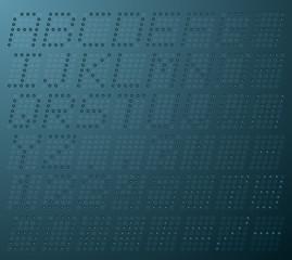Illustration uppercase alphabet digital LCD indicator