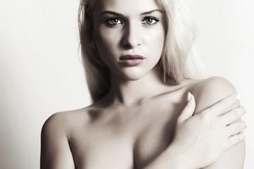 sexy beautiful blond woman with bright lips