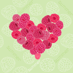 Seamless pattern with heart of raspberries