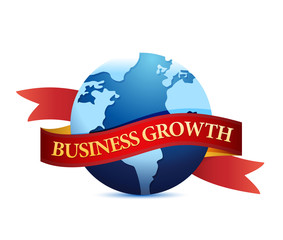 Business growth with globe illustration
