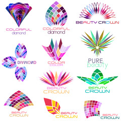 set of beauty concept icons, logos