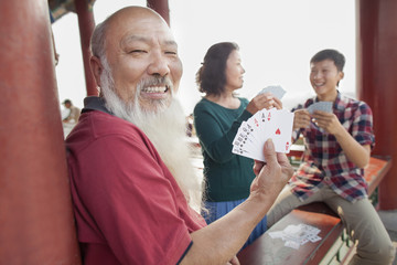 Chinese Family Playing Card In Jing Shan Park