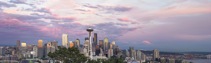 Seattle City Downtown Skyline at Sunset Panorama Wall mural