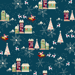 Winter Christmas seamless pattern with houses and trees