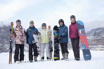 Group of Snowboarders in Ski Resort, portrait