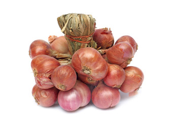 Group of shallot onions isolated on white
