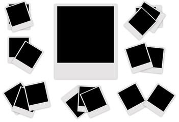 Set Polaroid photo frame isolated on white background