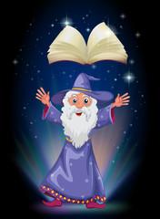 Foto op Aluminium Feeën en elfen An old wizard below the floating empty book