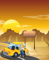 A girl fixing the yellow car at the desert with an empty signboa