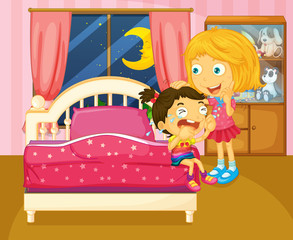 A little girl crying beside her sister inside the room
