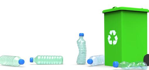 3D plastic bottle, recycling