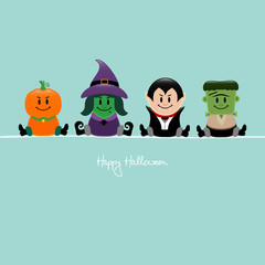 Halloween Pumpkin, Witch, Dracula & Frankenstein´s Monster Retro