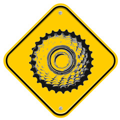 Yellow sign with a biking icon