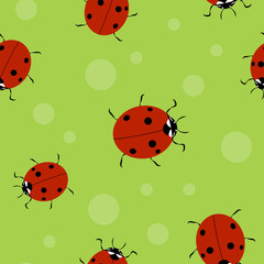 Poster de jardin Coccinelles Vector summer background, seamless pattern