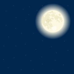 Vector moon on a dark blue sky, nighttime