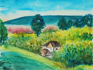 watercolor painting, landscape