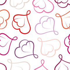 Seamless Pattern Red Hearts Retro