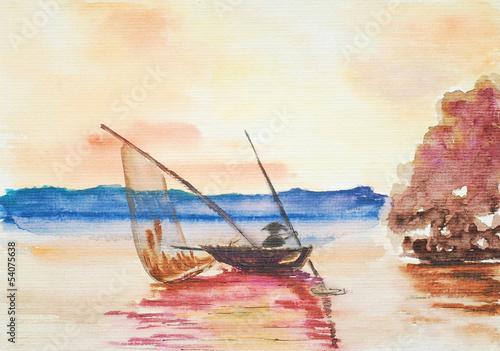 акварель пейзаж с лодкой