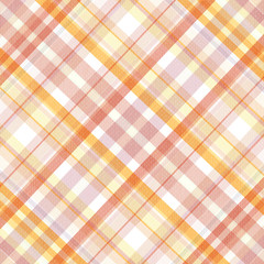 Retro beige, pink, white and orange plaid pattern